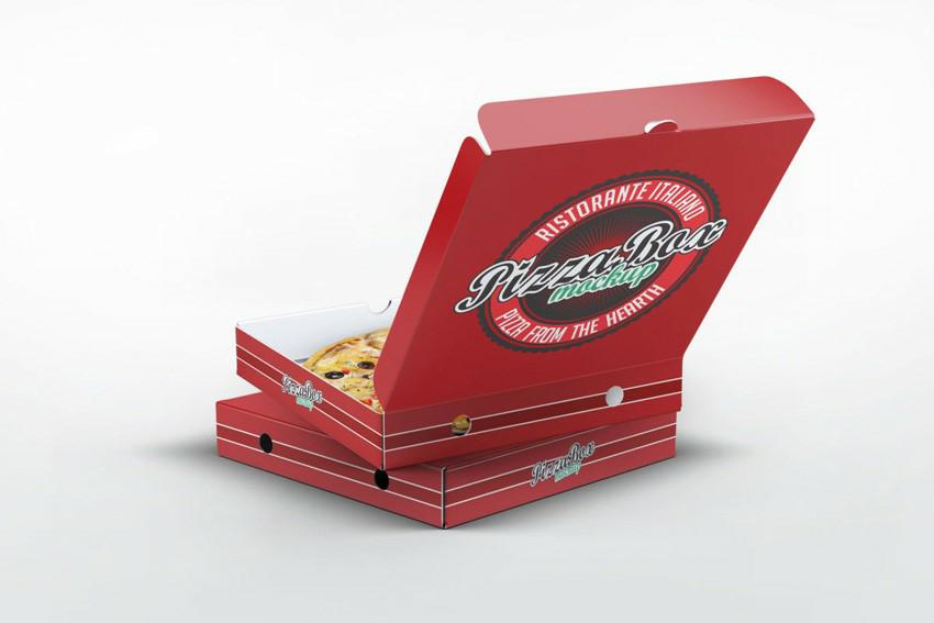 موک آپ folding box جعبه پیتزا