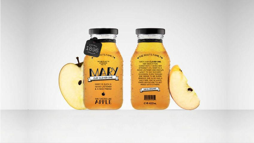 نمونه طراحی بسته بندی بطری آب سیب